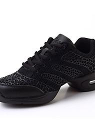 Non Customizable Women's Dance Shoes Dance Sneakers Fabric Flat Heel Black / Red / White