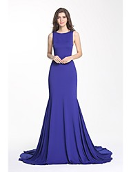 Formal Evening Dress-Burgundy / Royal Blue Trumpet/Mermaid Jewel Court Train Jersey