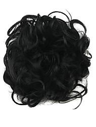 парик черный 6см высокотемпературный провод круг волос цвет 2