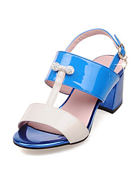 Women's Shoes PU / Patent Leather Chunky Heel Heels/ Open Toe Sandals Office & Career / Dress Blue / Pink / Royal Blue