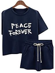 De las mujeres Simple Deportes Verano Conjunto,Escote Redondo Un Color Manga Corta Algodón Azul / Gris / Verde Fino