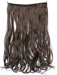 peruca marrom 45 centímetros sintética fio de alta temperatura de cor pedaço de cabelo encaracolado 8