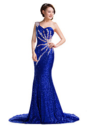 Formal Evening Dress Trumpet / Mermaid One Shoulder Court Train Sequined with Crystal Detailing