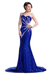 Evento Formal Vestido-Rubí / Azul Real Trompeta/Sirena Corte-Sobre un Hombro Lentejuelas