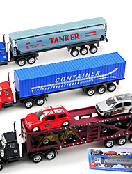 Dibang - Children's toy car alloy car simulation truck tractors with four front carriage of containers (three mixedPCS)