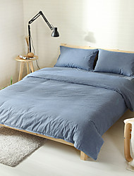 Washed Cotton Bedding Sets dark blue  Queen King Size Bedlinens 4pcs Duvet Cover Set