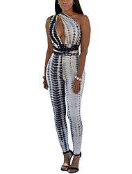 Women's Check Black Jumpsuits,Boho One Shoulder Sleeveless Print Randomly