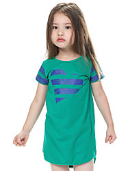 Girl's Green / Red Dress,Striped Cotton Summer