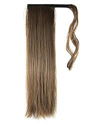 longueur sombre queue de cheval perruque brune 60cm synthétique haute température droite couleur de fil 8