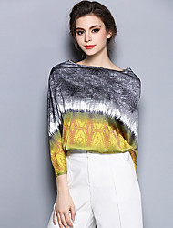 Women's Formal Simple / Sophisticated Summer Blouse,Print Boat Neck Long Sleeve Yellow Silk Thin