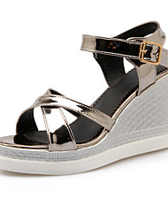 Women's Shoes PU Wedge Heel Wedges  / Comfort / Open Toe Sandals Office & Career / Casual Pink / Silver / Champagne