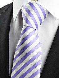KissTies Men's Striped Purple White Microfiber Tie Necktie Formal Meeting Wedding Holiday Business With Gift Box
