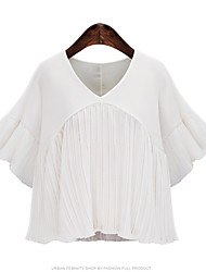 Women's Flare Sleeve|Ruffle Casual/Daily Street chic Summer T-shirt,Solid Round Neck ½ Length Sleeve White / Black Polyester Thin
