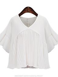 Damen Solide Street Schick Lässig/Alltäglich T-shirt,Rundhalsausschnitt Sommer ½ Länge Ärmel Weiß / Schwarz Polyester Dünn