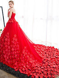 Ball Gown Wedding Dress-Ruby Cathedral Train Strapless Satin / Tulle