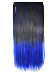 Hot Mixed Color Straight Hair Piece High Temperature Fiber Synthetic Hair Extention