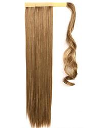 золотой 60см синтетическая высокая температура проволоки парик прямые волосы конский хвост цвет 10/86