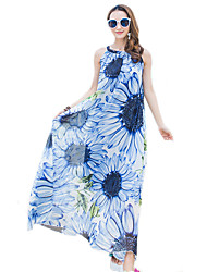 2016 Summer New Women's Bohemian Beach Chiffon Flower Print Dress