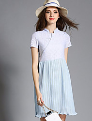 Women's Casual/Daily Vintage Sheath Dress,Patchwork Stand Above Knee Short Sleeve Blue Polyester Summer