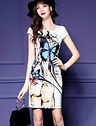 Women's Casual/Daily Vintage Sheath Dress,Print Round Neck Above Knee Short Sleeve Multi-color Polyester Summer