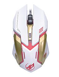 lobo guerra 6d de jogos com fio do mouse 2400dpi 7 cores LED backlit de luz para lol / cf / dota preto / branco