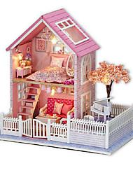 chi casa de diversión de la cabina de bricolaje de color rosa cereza mano modelo montado casa de regalo de cumpleaños creativo para enviar