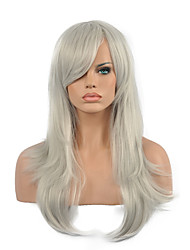 High Quality Long Curly Gray Color Woman's Party Synthetic Wigs
