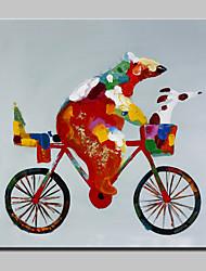 pintura a óleo pintado imagem mão grande moderna animal urso tela com moldura esticada pronto para pendurar