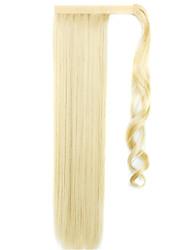 золотой 60см синтетическая высокая температура проволоки парик прямые волосы конский хвост цвет 86/613
