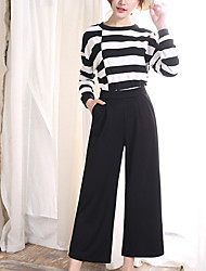 Women's Wide Leg Solid Black Wide Leg Pants Summer