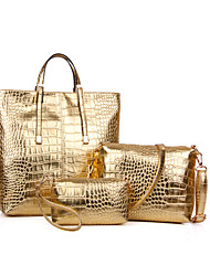 Women PU Casual / Office & Career / Shopping Tote / Bag Sets Gold / Silver / Black