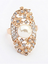 Fashion Hollow Carved Pearl Ring