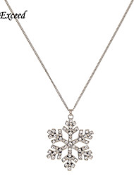 D Exceed Crystal Snow Necklaces & Pendants Snowflake Silver Collier Gioielli Bijoux Necklace For Women