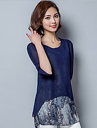 Women's Print Blue / Pink Blouse,Round Neck ¾ Sleeve