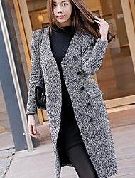 Women's Going out Simple Pea Coats,Solid V Neck Long Sleeve Black / Gray Wool