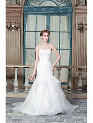 A-line Wedding Dress Sweep / Brush Train Sweetheart Satin with Button / Appliques / Beading