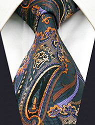 Men's100% Silk  Tie Brown Paisley Fashion