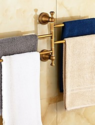 Antique Brass-Plated Solid Brass 4 Bars Rotatable Bathroom Towel Rack
