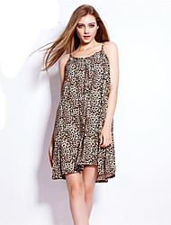 Women's Simple Animal Print Loose Dress,Strap Above Knee Cotton