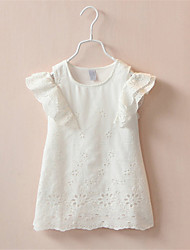 2016 Summer New Arrival Girls Fly Sleeve Child Dress Princess Dress Elastic Lace Child Clothes Kid's Dress Blue/White