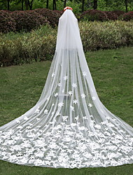 Wedding Veil Two-tier Cathedral Veils Cut Edge Tulle / Lace Ivory