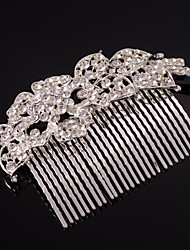 Full-Crystal Silver Hair Combs Jewelry for Wedding Party with Pearl