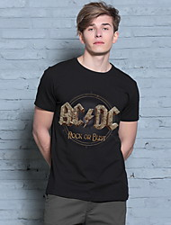 American Fashion Style Men's New 3D Letter Rock Band Printed Short-sleeved T-shirt