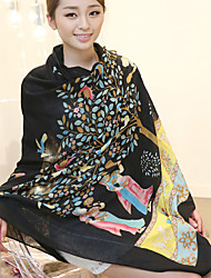 Long Wishing Tree Black  Printing Cotton Twill Scarves Fringed Shawl