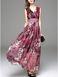 Going out Simple Sheath Dress,Print V Neck Maxi Sleeveless Blue / Red Polyester Summer Mid Rise
