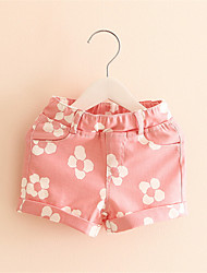 Summer Style Kids Girls Floral Pattern Short Pants Cuffed Leg Cotton Bottoms Trousers 1-6Y Girls Shorts