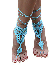 Women's Handmade Crochet Cotton Foot Anklet Bracelet Ankle Chain Beach Barefoot Sandals