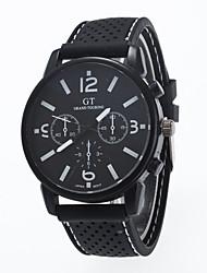 Men's Fashion Watch Quartz Casual Watch Silicone Band Black