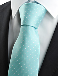 KissTies Men's Mint Blue Dot Necktie Wedding Party Casual Tie With Gift Box