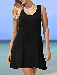 Plus Size / Casual/Daily Sexy / Simple A Line / Loose Dress,Solid Round Neck Above Knee Sleeveless Black Cotton Summer Mid Rise